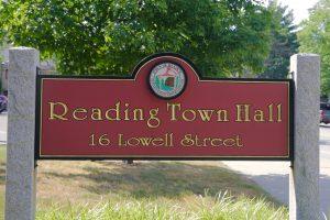 Town Hall Sign close up